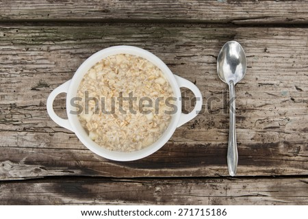 Healthy breakfast, oatmeal - stock photo