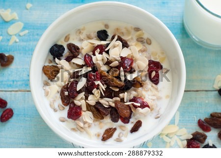 Healthy Breakfast - Oatmeal with dried fruit and glass of milk.