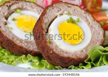 Healthy breakfast of meat stuffed egg on the lettuce. macro horizontal  - stock photo