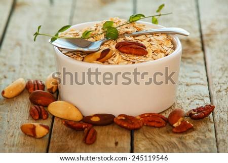 Healthy breakfast on the kitchen table - stock photo