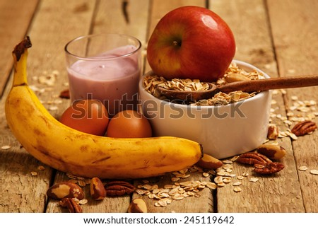 Healthy breakfast on the kitchen table - stock photo