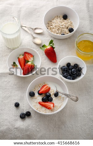 healthy breakfast with berries, food above - stock photo