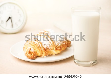 Healthy Breakfast With Croissant, Milk - stock photo