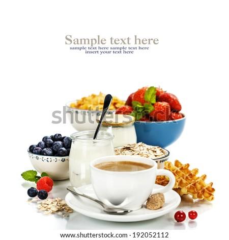 Healthy breakfast - yogurt, coffee, muesli and berries - Health and Diet concept - stock photo