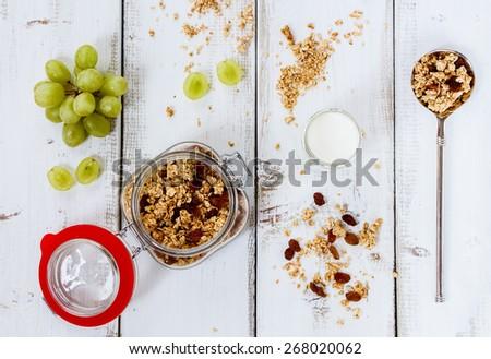 Healthy breakfast - yogurt with muesli and berries - health and diet concept. Top view. - stock photo