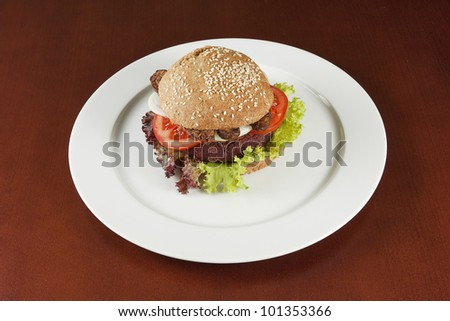 Healthy burger with tempeh - stock photo