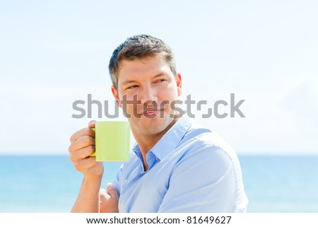 healthy businessman on business travel enjoying - stock photo