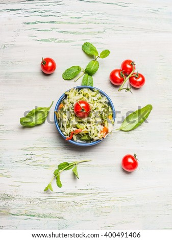 Healthy cabbage salad in bowl with tomatoes, top view. Healthy lifestyle and diet food concept. - stock photo