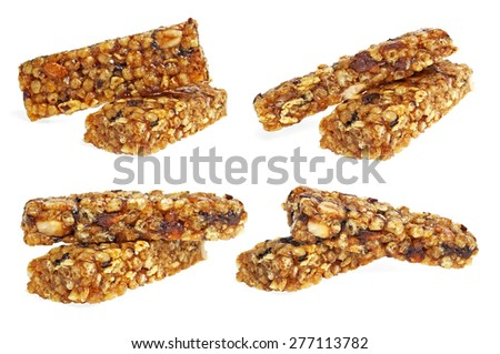 Healthy cereal bar collection on white background - stock photo