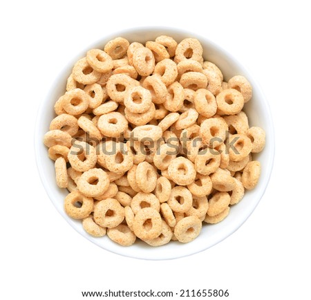 healthy cereal rings in white wooden on white  - stock photo