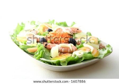 Healthy Chinese - Asian King prawn shrimp salad - stock photo