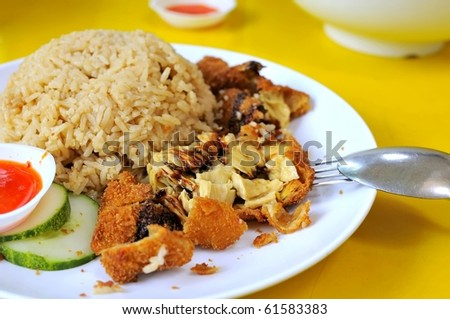 Healthy Chinese style vegetarian chicken rice. Suitable for concepts such as creative food, and food and beverage. - stock photo