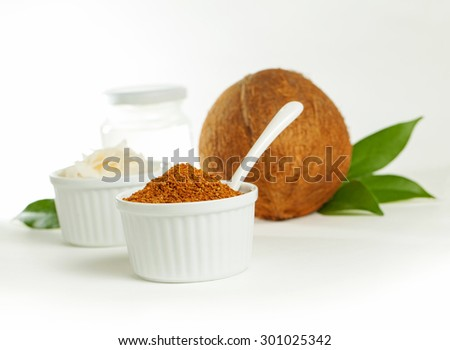 Healthy coconut products - sugar, oil and chips - stock photo