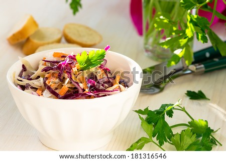 Healthy coleslaw with green, red cabbage and carrot  in white bowl - stock photo