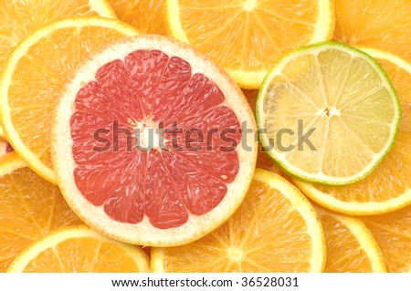 Healthy composition- grapefruit, orange , lemon