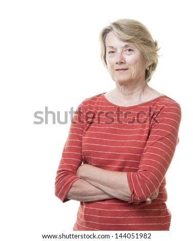 Healthy confident older woman with smile - stock photo