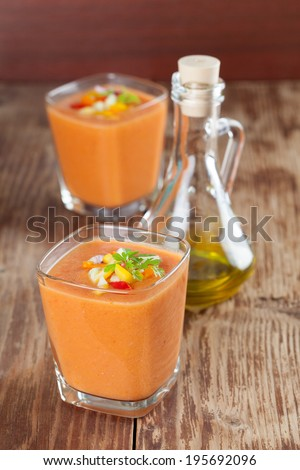 Healthy, delicious and refreshing Spanish cold soup gazpacho in glasses - stock photo