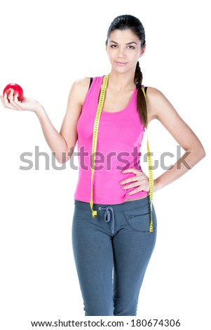 Healthy diet eating woman with scale and apple for weightloss isolated on white background - stock photo
