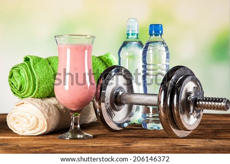 Healthy diet, protein shakes, fruits and sport and fitness concept - stock photo