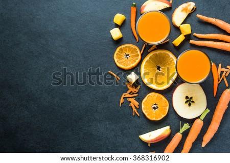 Healthy diet smoothie ingredients, food border background - stock photo