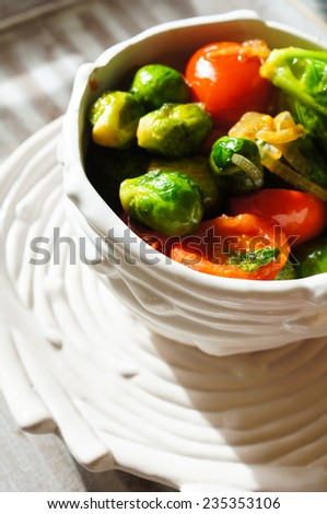 Healthy dinner with brussels cabbage and meat - stock photo