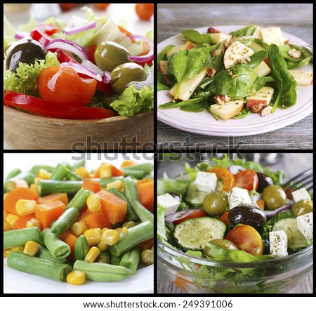 Healthy dishes in collage - stock photo