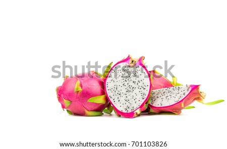 Healthy Dragon fruit isolated on white background