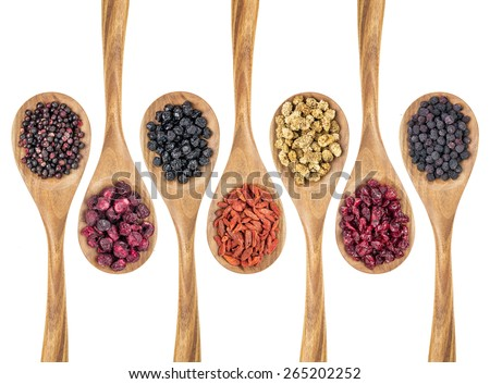 healthy dried berry collection (blueberry, mulberry, cherry, goji, elderberry, chokeberry, cranberry) on isolated wooden spoons, top view - stock photo