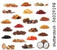 Healthy dried fruit and nut food collection isolated over white background. - stock photo