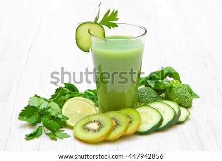 Healthy drink, green vegetable and fruit  juice