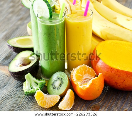 Healthy drink with fruits and vegetables  - stock photo