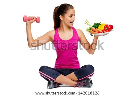 healthy eating and exercise for weightloss diet concept - stock photo