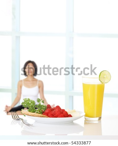 Healthy eating and physical conditioning for women - stock photo