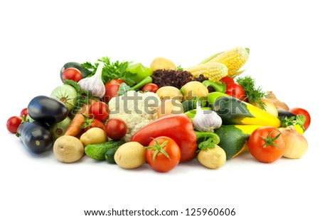 Healthy Eating / Assortment of fresh Organic Vegetables /  Isolated over White Background - stock photo