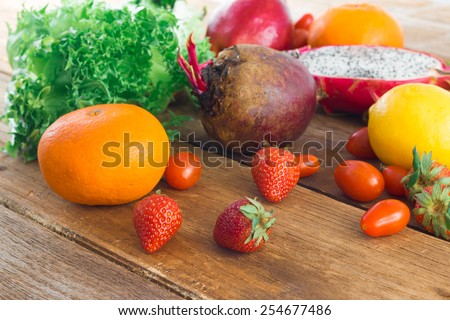 Healthy eating background, Mix vegetable and fruit on old wood