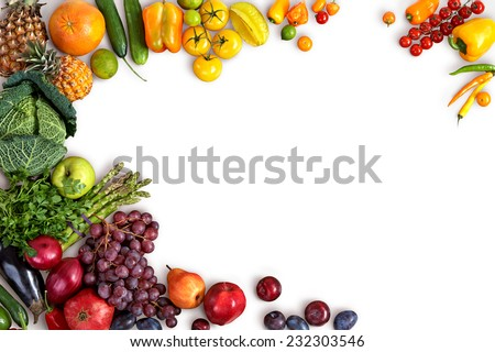 Healthy eating background / studio photography of different fruits and vegetables on white backdrop  - stock photo