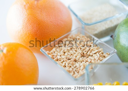 healthy eating, breakfast, diet and culinary concept - close up of food ingredients on table - stock photo