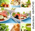 healthy eating collage - stock photo