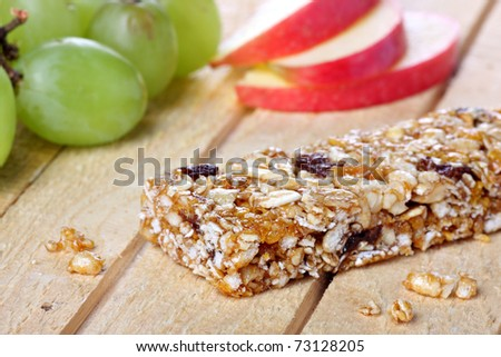 Healthy eating concept with cereal bar - stock photo