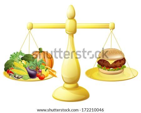 Healthy eating diet decision concept of healthy vegetables on one side of scales and a burger junk food on the other. Could also be for the importance of a balanced diet. - stock photo