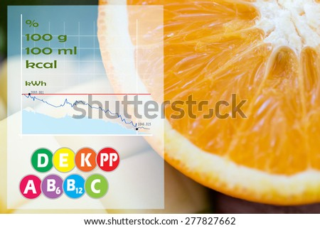 healthy eating, food, fruits and diet concept - close up of fresh juicy orange and mango slices with calories and vitamins chart - stock photo