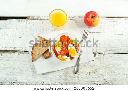 Healthy eating for lunch to work. Food in the office - stock photo