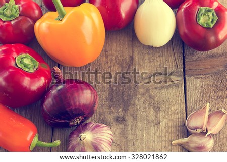 Healthy eating. Fresh vegetables on old wooden surface - stock photo