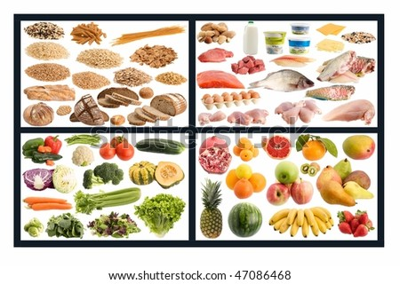 Healthy eating guide isolated on white background