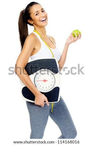 healthy eating leads to weightloss. woman happy isolated on white background. - stock photo