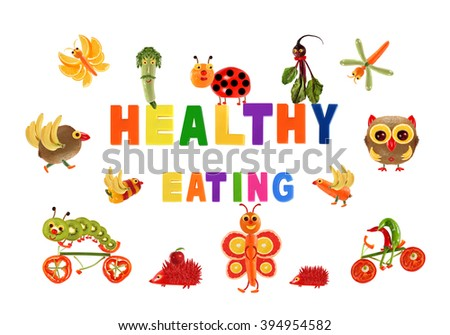 Healthy eating. Little funny vegetables around the word HEALTHY EATING - stock photo
