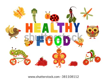 Healthy eating. Little funny vegetables around the word HEALTHY FOOD - stock photo