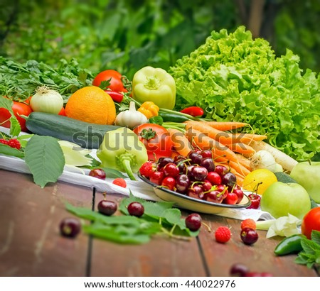 Healthy eating - organic fruit and vegetable - stock photo