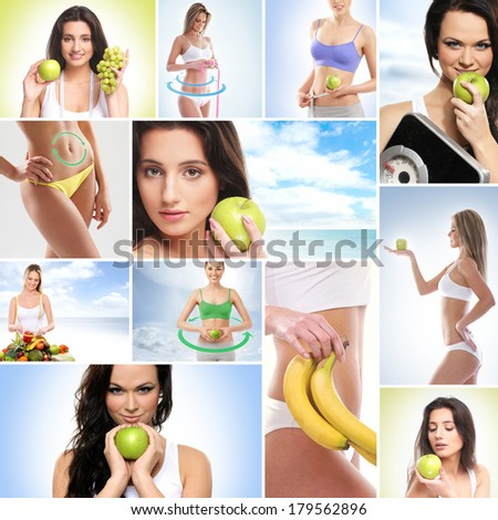 Healthy eating, sport, vegetarian food and beautiful body concept - stock photo