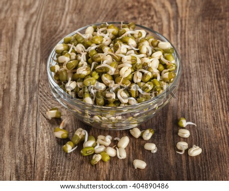 Healthy eating. Sprouted lentils in a glass bowl - stock photo
